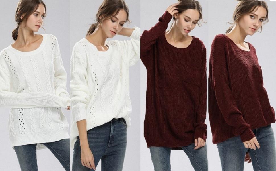 Alinfu Womens Casual Unbalanced Crew Neck Knit Sweater Loose