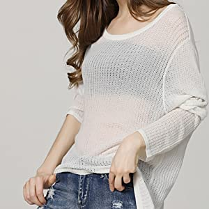 cebda447f361ab Women s Casual Thin See Through Unbalance Knit Pullover Batwing Blouse Tops