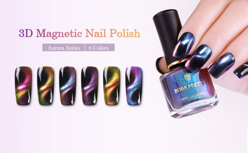 Amazon.com : Born Pretty 3D Cat Eye Magnetic Nail Polish 6pcs Sets ...