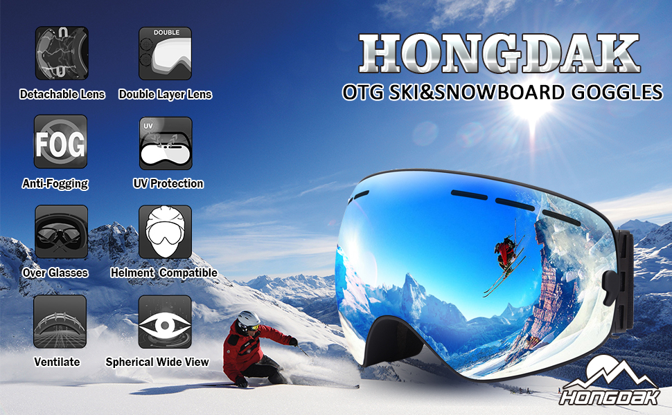ef501d2152 HONGDAK Ski   Snowboard Goggles Is designed for winter sports lovers to  protect their eyes when Skiing