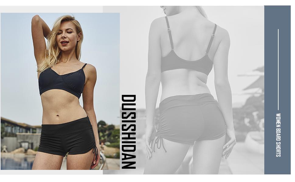 c55482385ef Amazon.com: DUSISHIDAN Women's Swim Shorts with Side Ties: Clothing