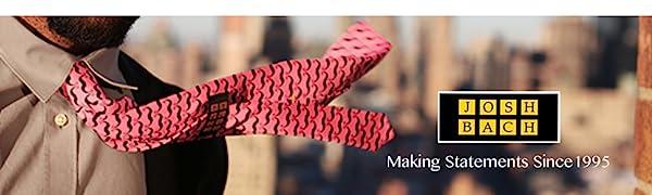 Josh Bach men neckties silk unique designs patterns creative sports science history fun bow ties USA