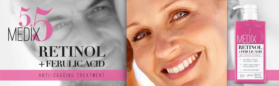 Retinol sagging facial skin