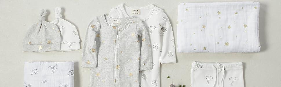 cotton muslin swaddle; baby hat; baby pajama; organic baby pajamas;