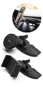 Ringke 2 in 1 CD Slot Car Phone Holder Mount One Touch Premium Adjustable Phone Grip Strong Magnet