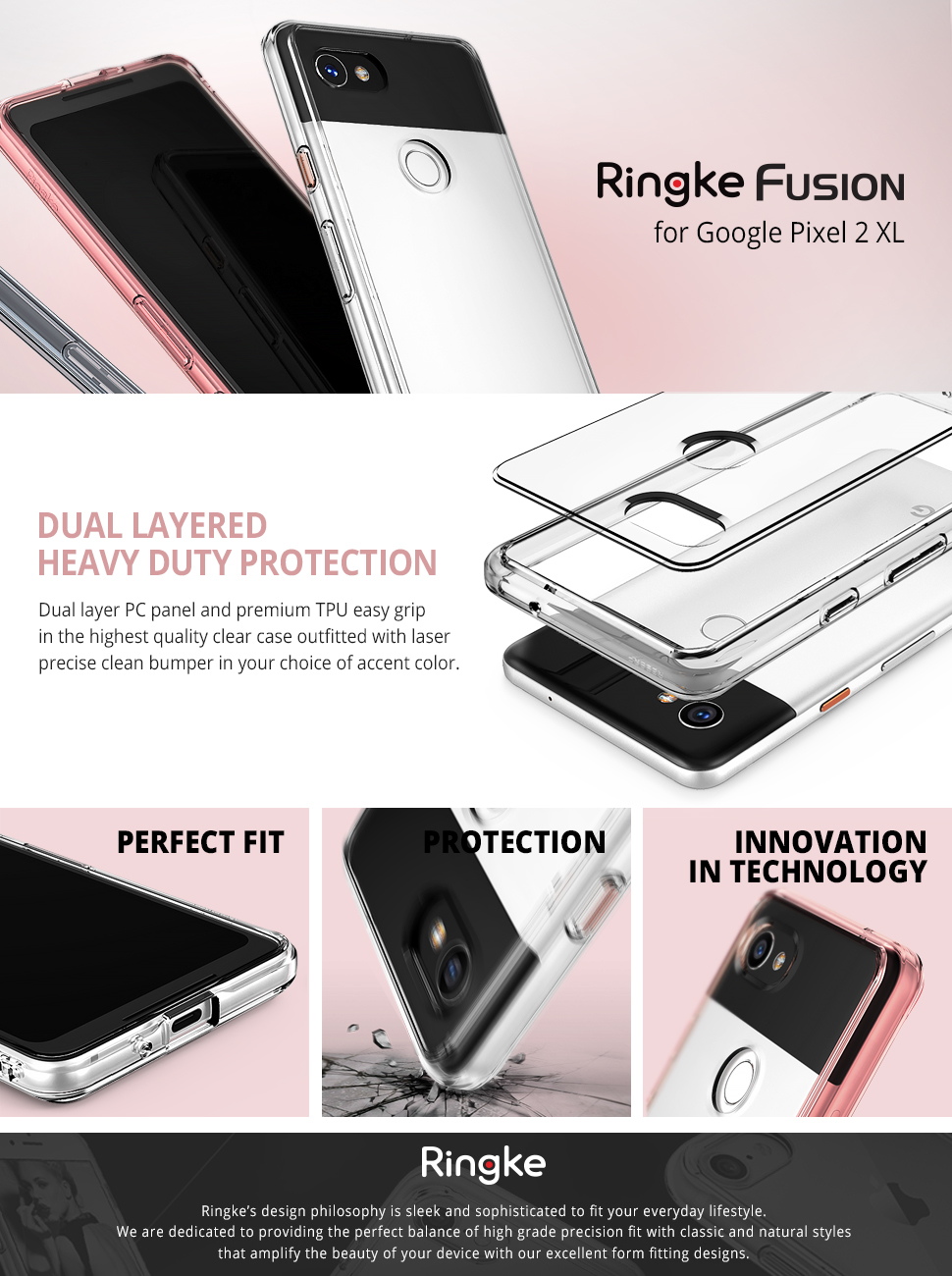 Husa Google Pixel 2 XL Ringke Fusion Clear