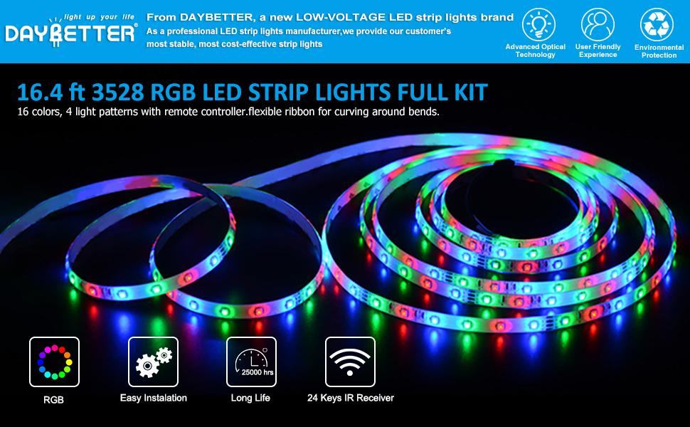 Daybetter Led Strip Lights 16 4ft 5m Smd 3528 Rgb 300 Leds Color Changing Kit Waterproof Led Ribbon For Home Kitchen Light Strips 12v Power Adapter