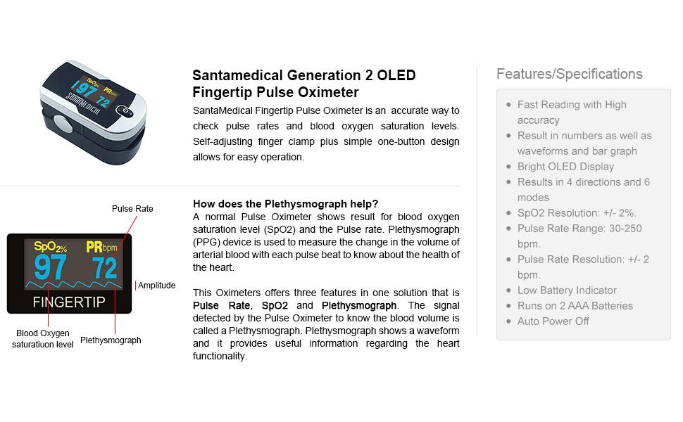 Santamedical Generation 2 Fingertip Pulse Oximeter Oximetry Blood Oxygen  Saturation Monitor