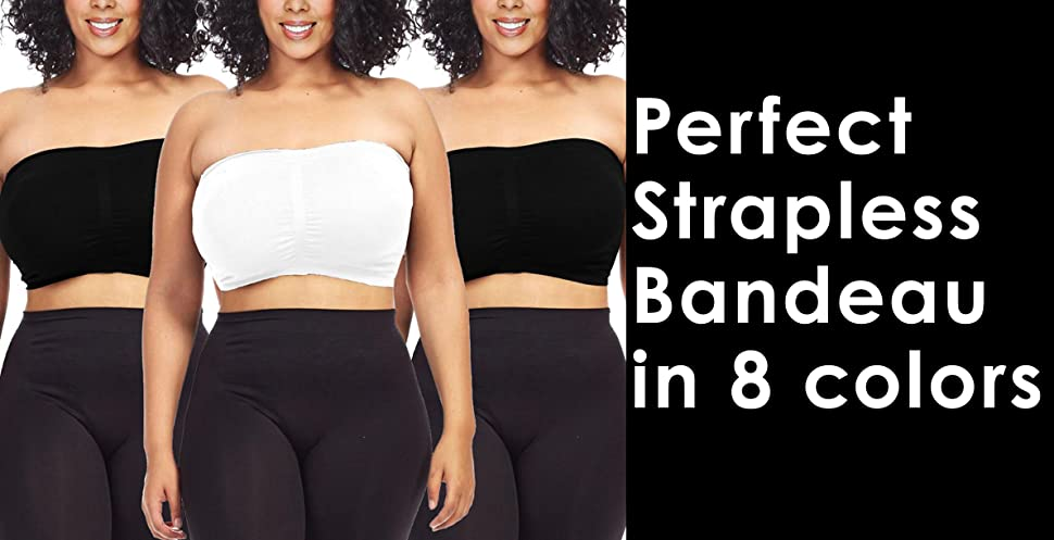 5b4d79cd53c5a These Women plus size seamless padded bandeau tube top bra are form  fitting