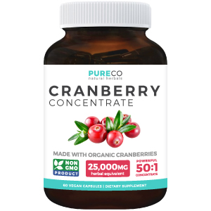 Organic Cranberry Pills - 50:1 Concentrate - Kidney Cleanse & Urinary Tract Health - UTI Vitamins