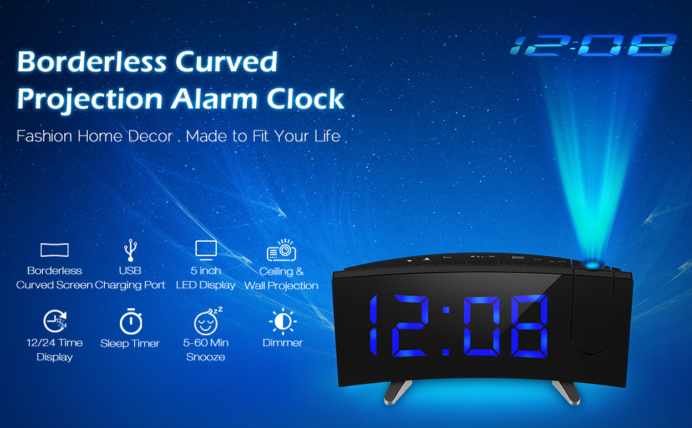 Curved Screen Large Readout Dual Alarm Clock     Fashion Home Decor, Made  To Fit Your Life.
