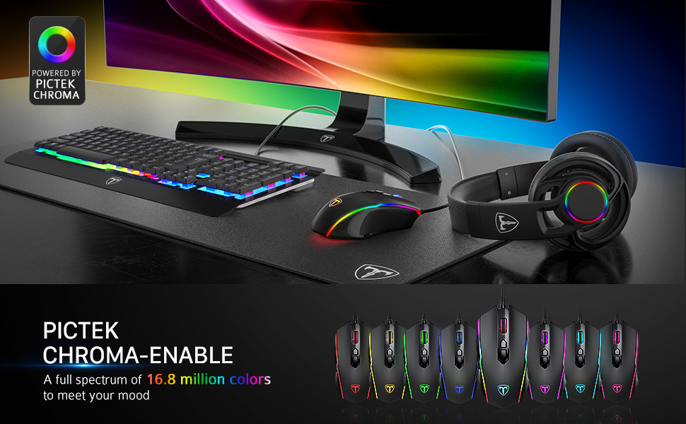 PICTEK Gaming Mouse Wired, 8 Programmable Buttons, Chroma RGB Backlit, 7200  DPI Adjustable, Comfortable Grip Ergonomic Optical PC Computer Gaming Mice