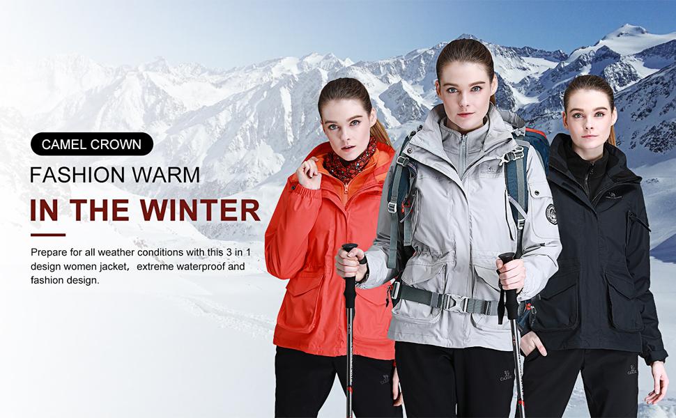 CAMEL CROWN Womens Waterproof Ski Jacket 3-in-1 Windbreaker Winter Coat
