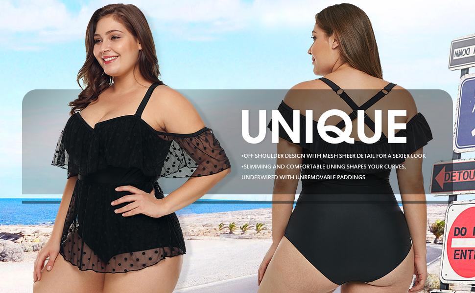 b9f10384708a9 Ecrocoo Women's One Piece Swimsuits Off Shoulder Swimwear Black Monokinis Bathing  Suits