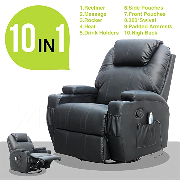 RECLINER GENIUS Leather Massage Recliner Chair Black & Amazon.com: RECLINER GENIUS Massage Recliner Chair Leather Heated ... islam-shia.org