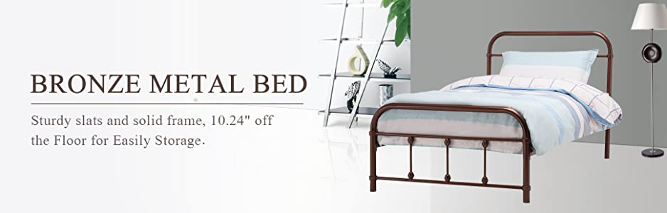 fecf789129736 Amazon.com  Mecor Bronze Metal Bed Frame Twin Size Platform