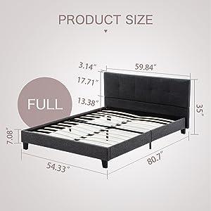 Mecor Upholstered Linen Full Platform Bed Metal Frame - with Solid Wood Slats Support - Square Stitched Headboard - Black/Full Size