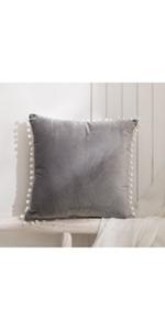 Grey Pom Poms Cushion Cover