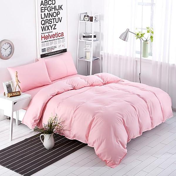4 Pieces Pink Bedding Set Nice Solid Color Bedding (NO COMFORTER) Queen Size