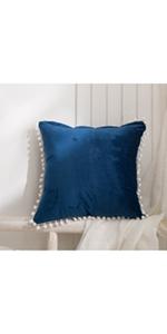 Blue Pom Poms Cushion Cover