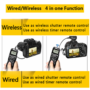 Pixel T9-S1/S2 LCD Wired/Wireless Shutter Release Remote with Two  Connecting Cables Timer Remote Control for Sony