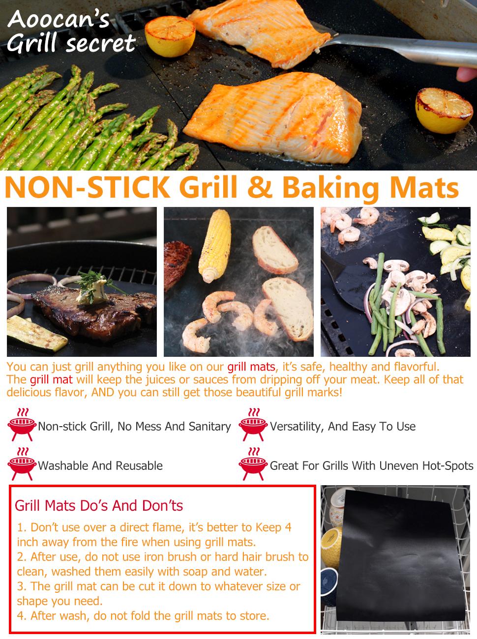 Non-stick grill mats - Aoocan