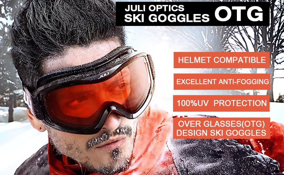 69e199e77d52 Amazon.com   Juli Ski Snowboard Googles UV Protection Anti-Fog Snow ...