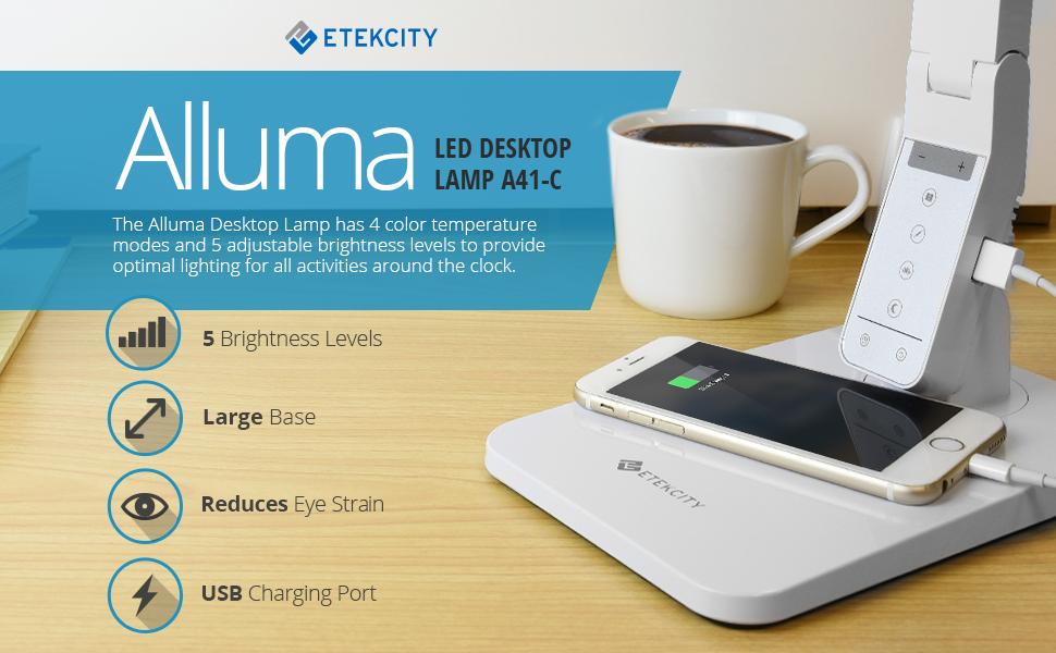Etekcity Dimmable Led Desk Lamp 4 Lighting Modes 5 Level