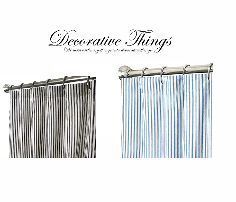 Unique Shower Curtains Black And White Ticking Stripe Fabric