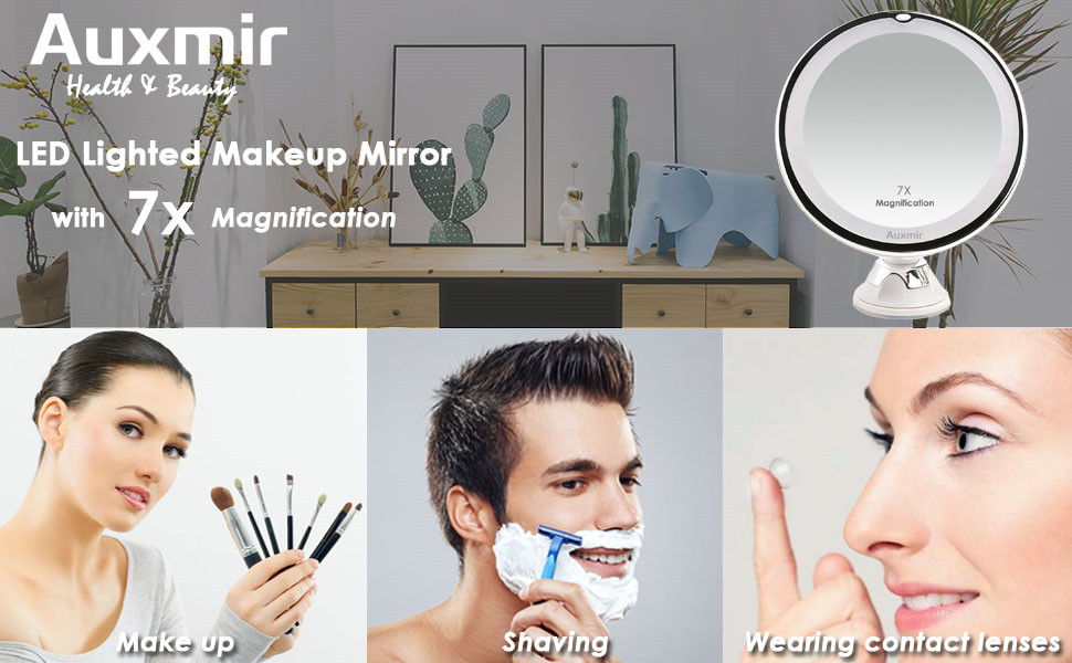 makeup mirror with lights magnification 7Xwall mounted 5 inch vanity cosmetic lighted cordless