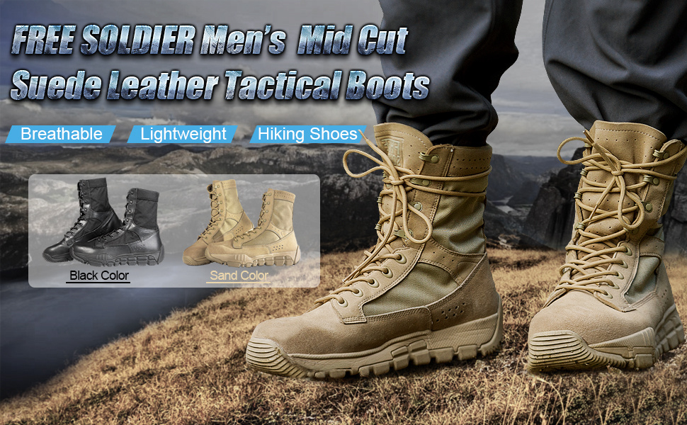 8228822c02c4d Amazon.com: FREE SOLDIER Men's Tactical Boots Suede Leather Mid Cut ...