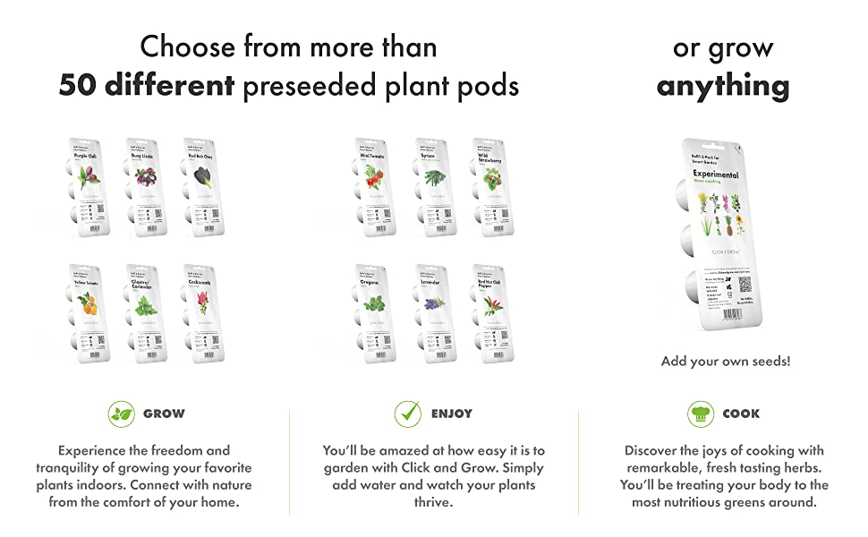 choose from 50 different preseeded plant pods indoor hydroponic smart home herb garden lights timer