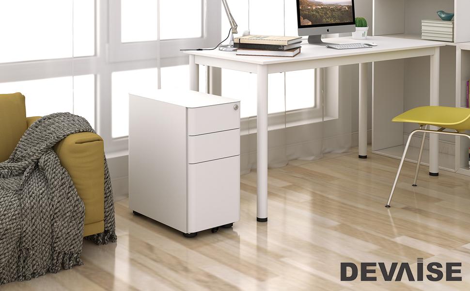 Amazon Com Devaise 3 Drawer Slim Mobile File Cabinet