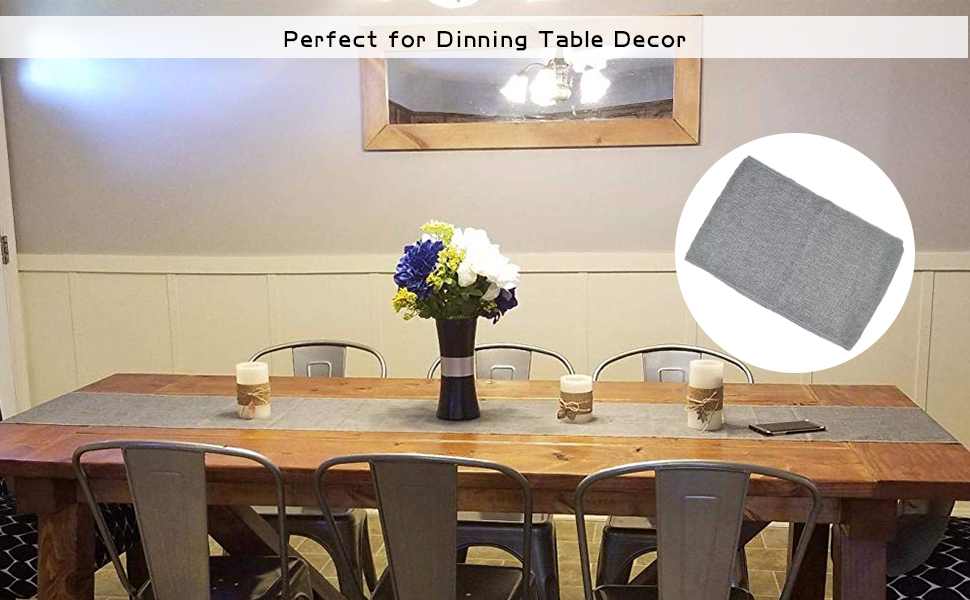 Imitated Linen Gray Burlap Table Runners 12 x 72 Inch Wedding Table Runner  Wrinkle-Free Tablecloth Farmhouse Centerpieces for Dining Room Table ...