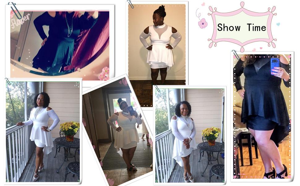 5b7f41516d2 Long Sleeve Cold Shoulder Bodycon Plus Size Mesh Mock Neck Peplum Party  Dress For Women