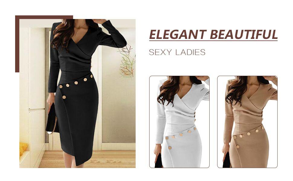 Women Wrap V Neck Wear to Work Business Cocktail Pencil Dress