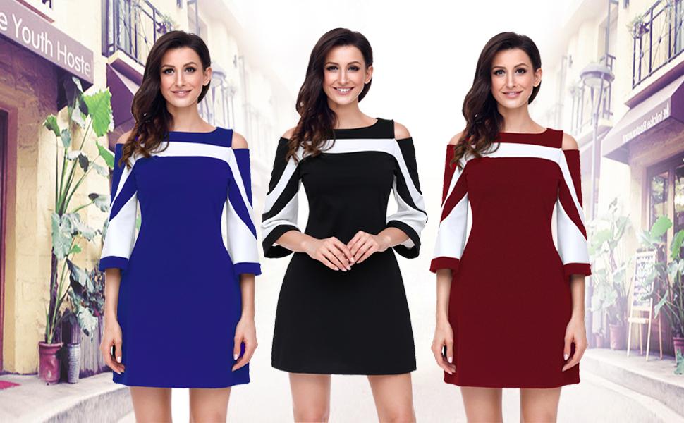 b09b923973 Ladies Cold Shoulder Colorblock 3 4 Bell Sleeve Office Slim Party Pencil Mini  Dress
