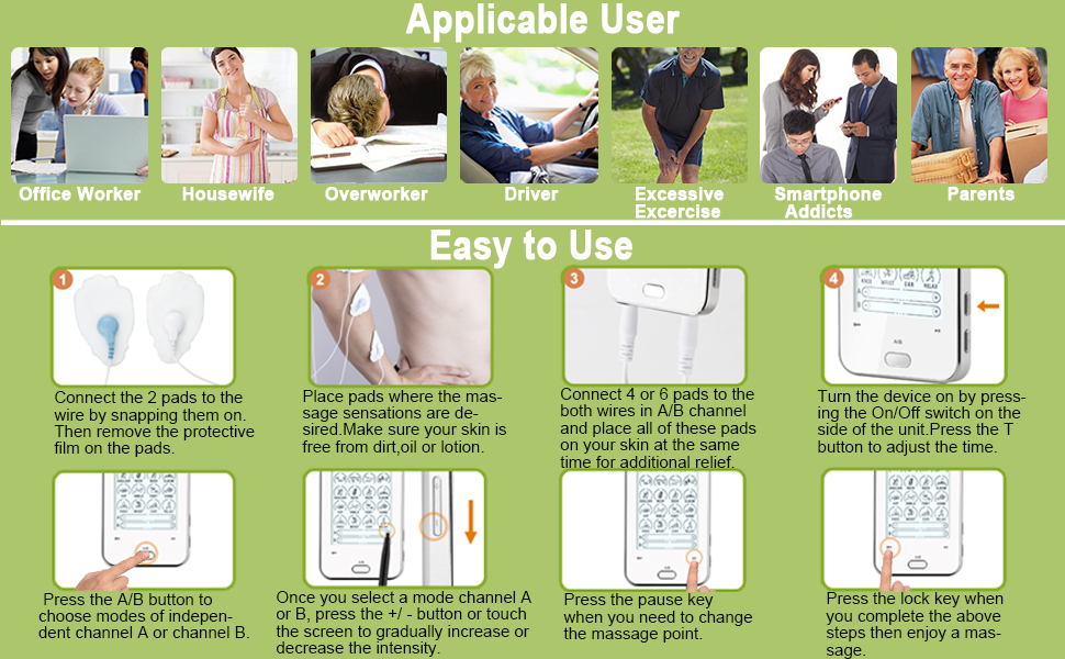 Belifu TENS Unit Electric Muscle Stimulator Machine Fit for Your Pain Management and Body Relax.