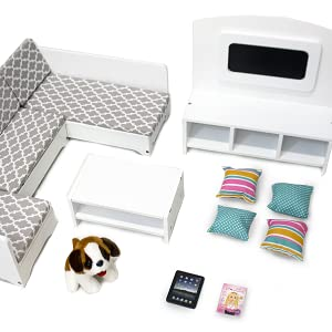 Playtime by Eimmie 18 Inch Doll Furniture Sectional Sofa w/ Doll Accessories