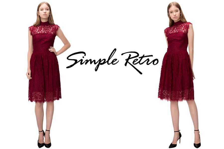 Amazon.com: Simple Retro Women\'s Cocktail Dress Vintage Floral Lace ...
