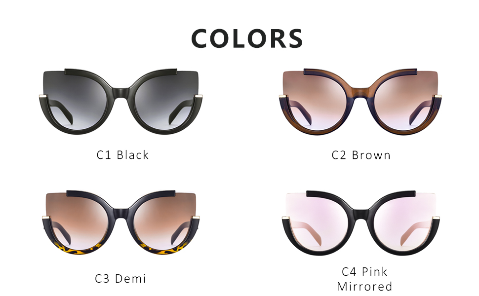 Mosanana Oversized Cateye Sunglasses for Women Fashion Retro Style 51807