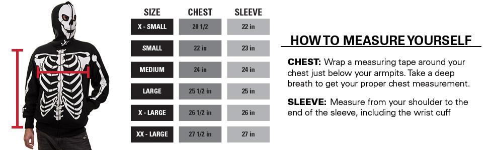 Skeleton Hoodie Size Charts
