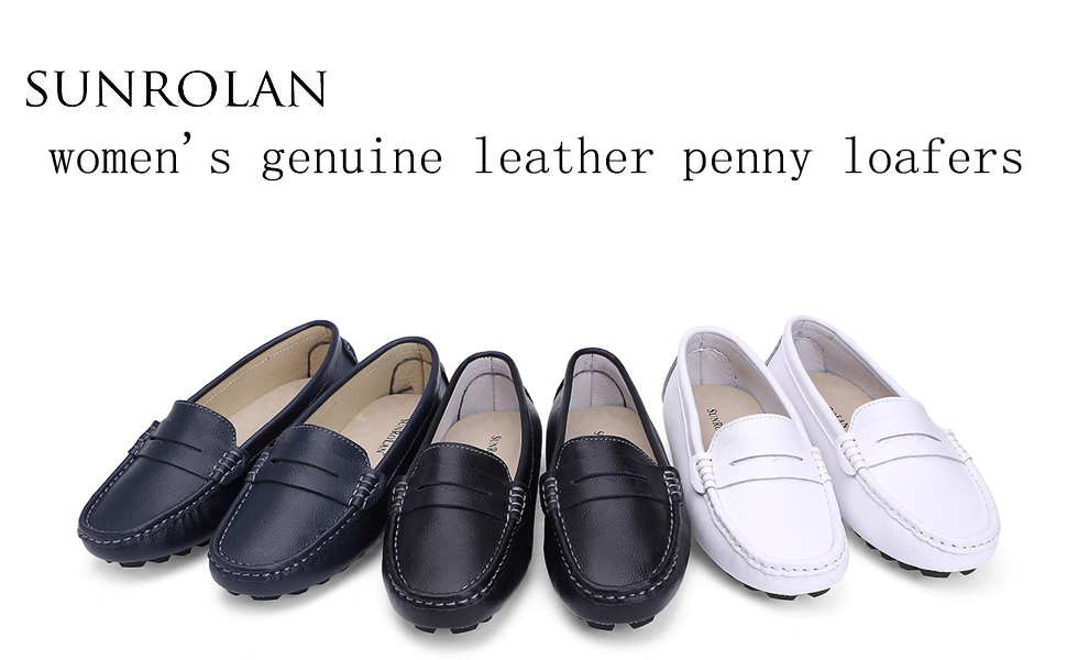 SUNROLAN Casual Womens Suede Leather Driving Moccasins Slip-On Penny Loafers Boat Shoes Flats 808-2