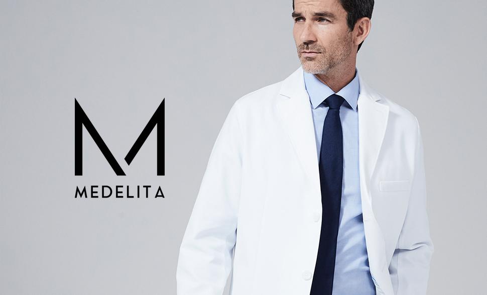Amazon.com: medelita Men's Laennec Classic Fit M3 White Lab Coat ...