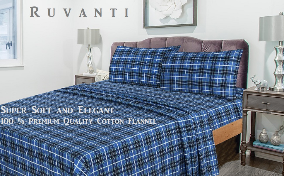 Amazon.com: Ruvanti 100% Cotton 4 Piece Flannel Sheets Queen