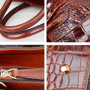 PIFUREN Large Handbags for Women Top handle Bags Genuine Leather Crocodile Handbag