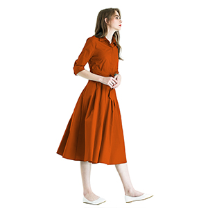 a7457aa4a8 Zredurn Women's Elegant Pleated Shirt Dress with Long Sleeve Pleated ...