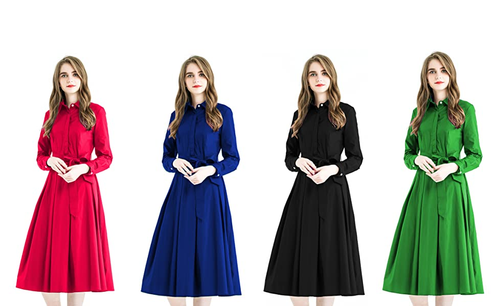 f8fda7d9c3c Zredurn Women Elegant Pleated Shirt Dress with Long Sleeve Pleated Belted  A-Line Dress Style