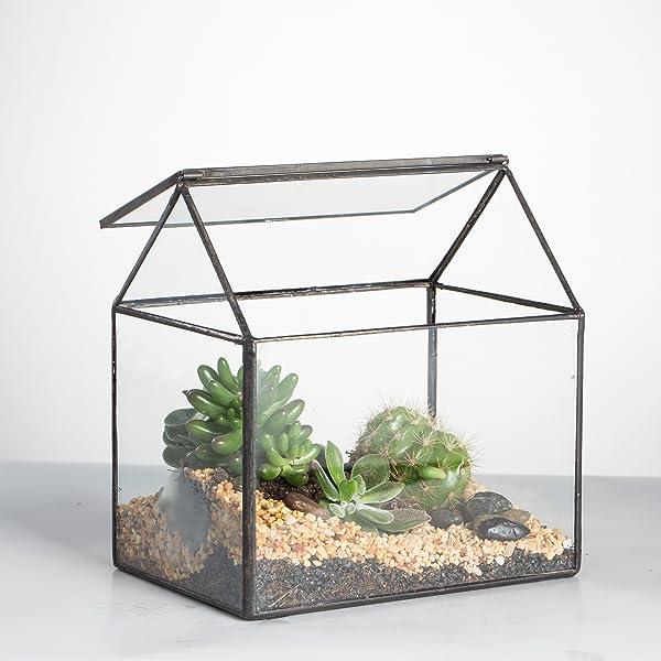 House shape geometric terrarium black with swing lid