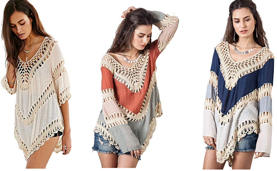 c848636a1b Vanbuy Women's Boho V Neck Crochet Tunic Tops Blouse Shirt Hollow Out Beach  Swimsuit Cover up